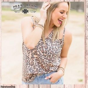 Crazy Train LA GRANGE leopard V NECK tank
